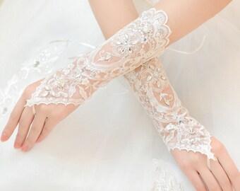 Tulle gloves fingerless gloves Rhinestone gloves wedding gloves  lace flower gloves grace gloves Ivorybridal gloves in handmade