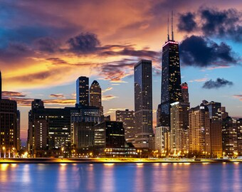 United States - Illinois - Chicago skyline at dusk - SKU 0167