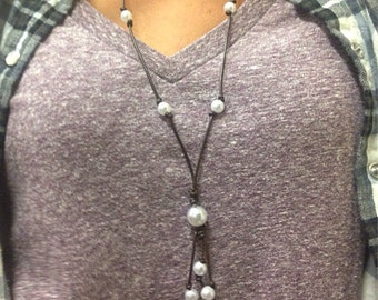The Morgan- leather and pearl lariat style long necklace