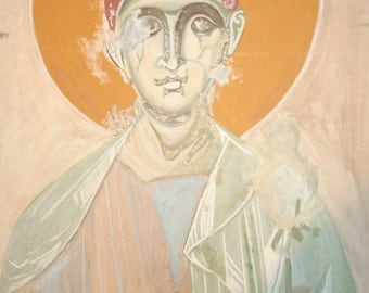 European gouache painting icon christian fresco