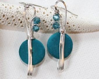 Turquoise Earrings, Crystal Earrings, Wire Work Jewelry, Fibre Earrings, Wire Wrapped Jewelry, Colorful Earrings, Blue Dangle Earrings