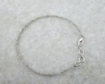 Gray Raw Rough Uncut Diamond Beads Bracelet, with 925 Sterling Silver Clasp