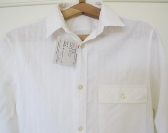 Soviet Boys White Shirt, NOS Unused Vintage Cotton Classic White Shirt, Long Sleeve Kids Shirt, Made in USSR. Collectible