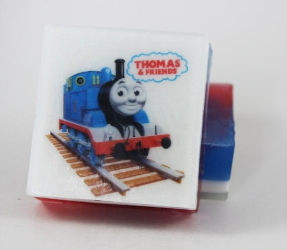 Kids bath accessories thomas the train kids bath by soapaucity for Thomas the train bathroom set