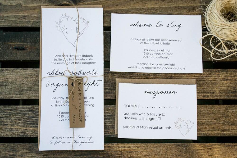 Environmentally Friendly Wedding Invitations: Organic Wedding Invitation, Eco-Friendly Wedding