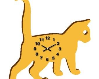 Yellow Kitty Cat Wall Clock,Wooden Clock Kid,Ready To Hang,Animal Clock,Nursery Room Decor,Tweens,Handmade Wall Clock,Fun kids Birthday Gift
