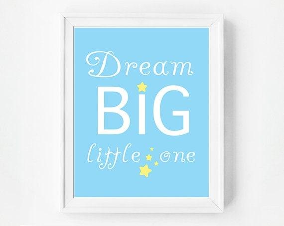 Printable Nursery Art, Dream Big Little One, Instand Download, Baby Blue, Nursery Printables