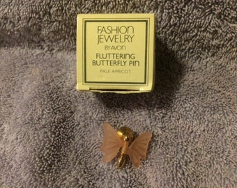 Vintage Fashion Jewelry by Avon Fluttering Butterfly Pin Pale Apricot 1983 New in Box RARE