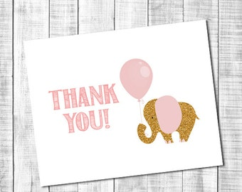 Pink and Mint Elephant Thank You Note Card - Immediate Download _ 62