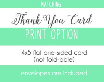 Matching Thank You Note Card - PRINT OPTION