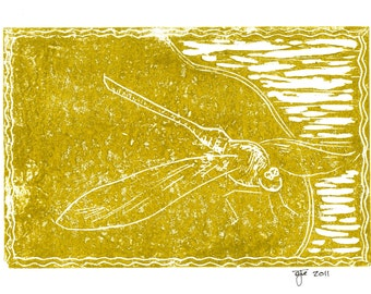 "Dragonfly Linocut Print on 5""x7"" Blank Card with Envelope/Gold"