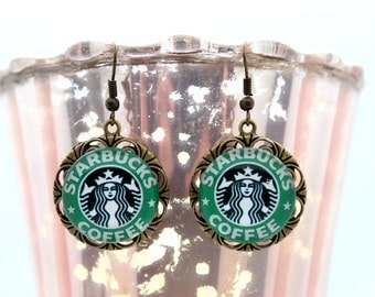 Starbucks Antique Gold Dangle Earrings FREE SHIPPING