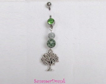Tree belly button ring , Navel ring, Belly button Jewelry, Belly button piercing, Belly button ring
