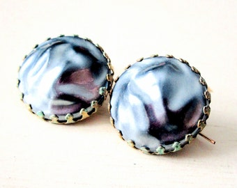 Luminous Faux Pearl Vintage Earrings - Gold - Verdigris - Patina - Gray - Grey - Jewelry - catROCKS - French Wire - Pierced Ears - Circle
