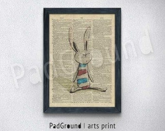 Rabbit Print, Dictionary Wall Art, illustration, Doll Poster, Home Decor, Kids Room Decor, Unique Gift, Art Print with Frame - RB01