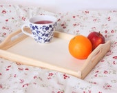 wooden tray, unfinished breakfast tray, serving tray, organizer bedroom, kitchen cottage style unpainted plain eco rustic painting decoupage