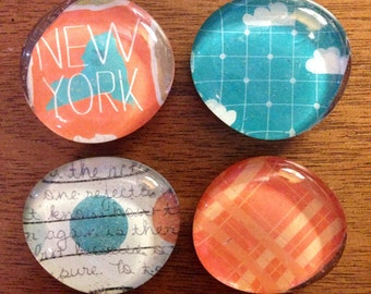glass magnets - state magnets - stone magnets - pebble magnets -  set of 4 - refrigerator magnets