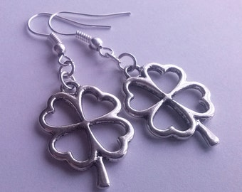 Lucky Four Leaf Clover Earrings , Irish Shamrock Earrings , Ireland , Good Luck , Silver Earrings , Handmade Jewelry , Gift