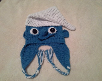 "Hand Crocheted & Decorated Cotton Child Hat. ""Smurf with Braids"" Pattern"