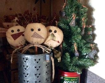 Primitive snowman pokes/crock pokes