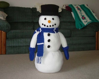 LARGE Crochet Snowman for Winter Decor