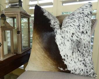 Cowhide Pillow Cover - Tri Color Brown Black Cream Decorative Cowhide Pillow - Genuine Brazilian Cowhide Accent Couch Sofa Pillow - 16615