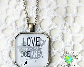 PREORDER LOVE Crosses Oceans CHINA Square Pendant Tray Necklace