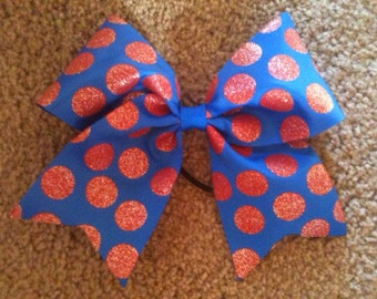 "Big 3"" Cheer Bow Royal blue Red glittery dot  Cheerleading Hair Bow for Cheerleader"