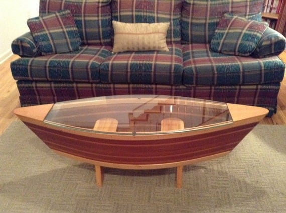 Handmade Canoe Shaped Glass Top Boat Shelf By Rabonriverrunners