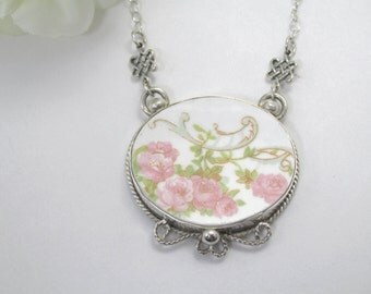 Antique China Necklace Sterling Silver Broken China Pink Roses Handmade Necklace Cottage Chic  Strawberry Ice