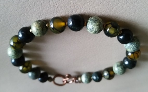TRICOLOR GREEN Round Bead & COPPER Bracelet with Dragon Vein Agate+Russian Serpentine, Hook Clasp.For Layering. Men, Women,7 Inch Wrist.