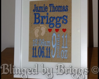 Framed embroidered word art any wording available