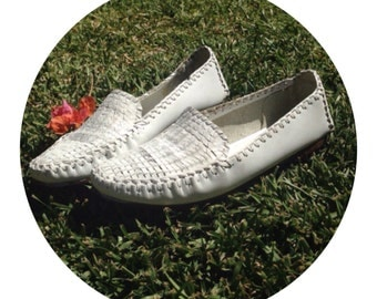 Ann Taylor Studio White Boho Flat Loafers 7 1/2