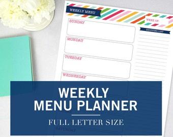 Weekly Menu Planner Printable – INSTANT DOWNLOAD