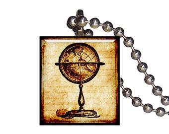 Vintage Globe Earth World - Reclaimed Scrabble Tile Pendant Necklace