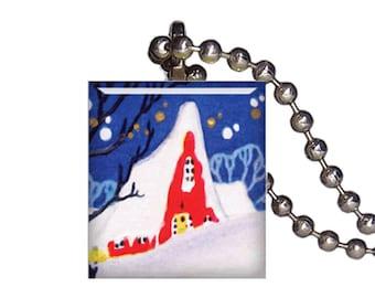 Vintage Christmas Snow Barn Winter - Reclaimed Scrabble Tile Pendant Necklace