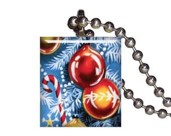 Vintage Christmas Ornament Red Balls - Reclaimed Scrabble Tile Pendant Necklace