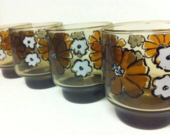 Vintage Libbey Floral Brown Juice Glasses / Tumblers / Floral Glasses / Vintage Glassware / Libbey Glasses / Libbey Glassware /