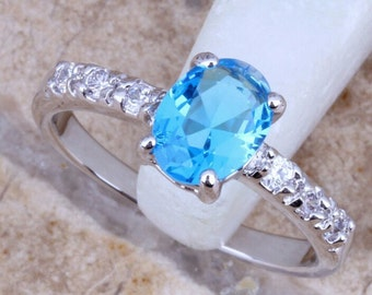 Blue Topaz and CZ Cubic Zirconia Sterling Silver Ring