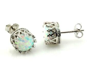 Amazing Genuine Fire opal 2.4ct 925 Sterling silver 8mm Stud Earrings