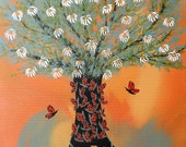 Monarch Butterfly Migration Original Contemporary Folk Art Canvas  Painting Tree with Butterflies by Jeanne Fry