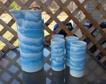 Dryden Pottery Pitcher and Tumbler 5 Piece Set Blue and Cream 1993 Arkansas