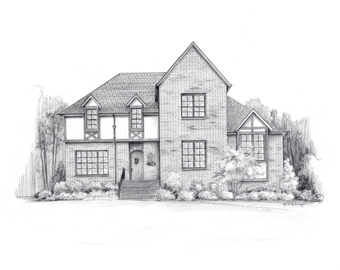 "11"" x 14"" Pencil House sketch architectural rendering from your photo!"