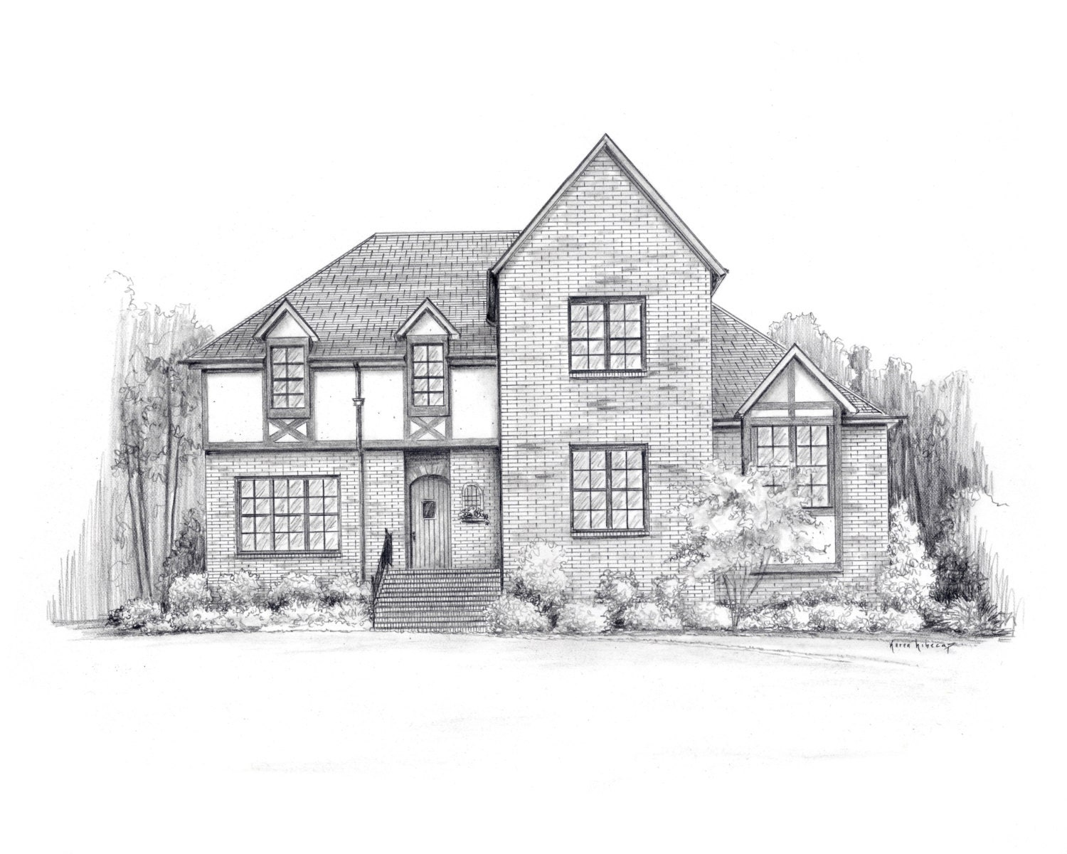 11 x 14 pencil house sketch architectural for Architectural drawings for houses