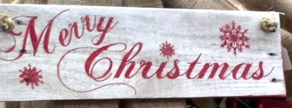 Rustic Merry Christmas Whitewashed Sign With