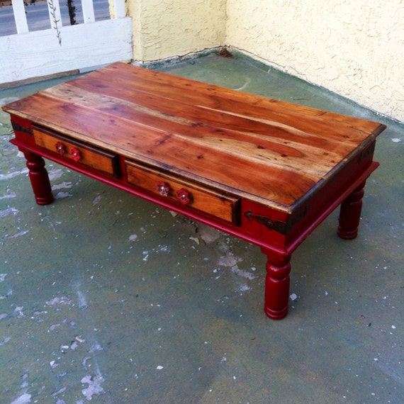 Sold Farmhouse Red Coffee Table Shabby Chic Coffee Table