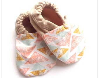 Peach Triangle Baby Shoes