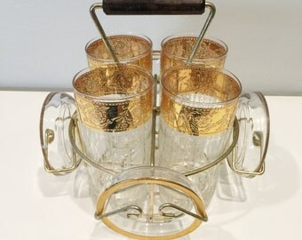 SALE! four vintage glasses with four coasters in caddy - gold
