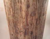 "Rustic Yellow Pine Stump Stool Table plant stand photo prop 9 1/2""wide 13"" tall"