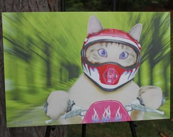 Cat on a Motorcycle Canvas Gallery Wrap
